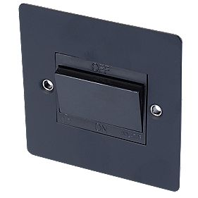 Volex 10A Fan Isolator Switch Blk Ins Matt Black Flat Plate