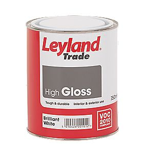 Leyland Trade High Gloss Paint Brilliant White 750ml