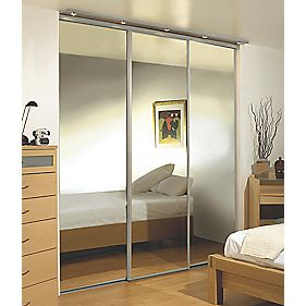 Silver Framed Wardrobe Mirror Door 2280 x 2330mm