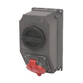 380-415V Legrand Hypra Interlocked Switched Inclined Socket 3P+E+N (IP44)
