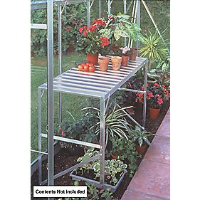 "Halls Greenhouse 1-Tier Staging Aluminium 3'6"" x 1'7"" x 2'4"""