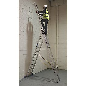 Sky Master 40229 Aluminium Combination Ladder 3 x 10 Rungs 6.9m
