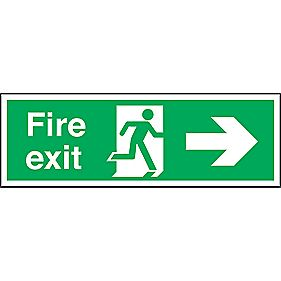 """Fire Exit"" Right Arrow Signs 150 x 450mm Pack of 50"