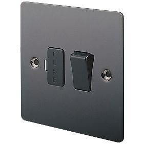 LAP 13A Switched Fused Connection Unit Black Nickel