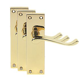 Victorian Short Backplate Scroll Door Handles Polished Brass Eff. Pack of 3