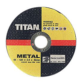 Titan Metal Cutting Disc 125 x 2.5 x 22mm Pack of 5