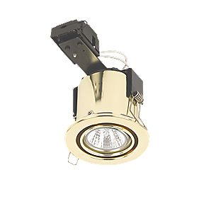 Linolite Sylvania Adjustable Round LV Fire Rated Downlight Polished Brass 12V