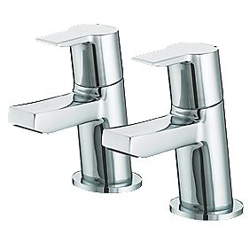 Bristan Pisa Bath Pillar Bathroom Tap with Click Waste Pair