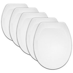 Carrara & Matta Jersey Contract Toilet Seats Thermoplastic White Pack of 5