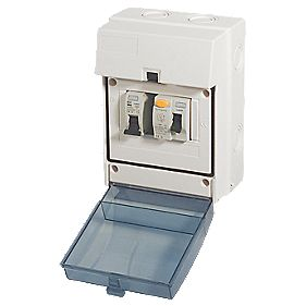 Shower Kit Enclosure 5-Module IP65 63A RCD 50A MCB
