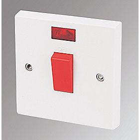 Marbo 1-Gang 45A DP Cooker / Shower Switch with Neon White