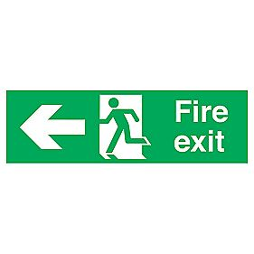 """Fire Exit"" Left Arrow Signs 150 x 450mm Pack of 50"