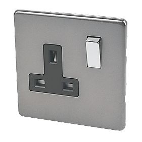 Varilight 1-Gang 13A DP Switched Socket Slate Grey