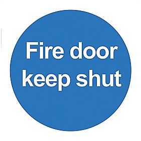 """Fire Door Keep Shut"" Signs 100 x 100mm Pack of 50"