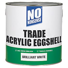 No Nonsense Trade Acrylic Eggshell Emulsion Paint Brilliant White 2.5Ltr