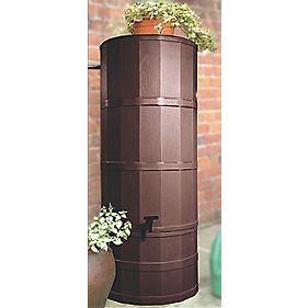 Polytank Decorative Water Butt Dark Oak Effect 220Ltr