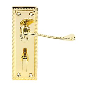 Georgian Scroll Long Backplate WC Door Handle Brass Effect