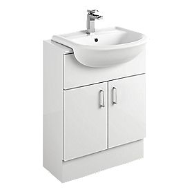 Bathroom Vanity Unit & Basin White Slab 600 x 300 x 81mm