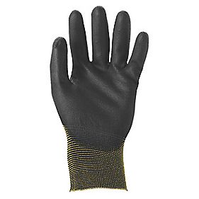Ansell Sensilite 48-101 Nylon PU-Coated Disposable Gloves Black Large