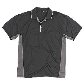 "Site Moisture Wicking Polo Shirt Black Large 42-44"" Chest"