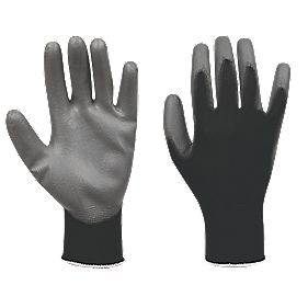 Secure Handling PU Palm Gloves Grey / Black Large