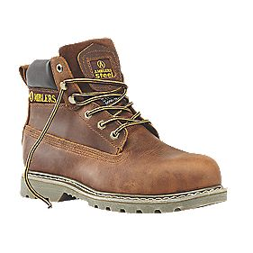 Amblers Steel Oiled Leather Safety Boots Brown Size 9