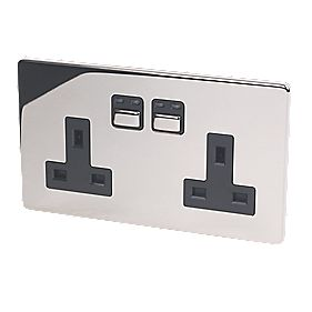 2G 13A Single Pole Switched Socket Chrome with Black Insert