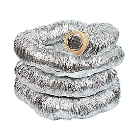 Manrose Insulated Ducting Hose Laminated Aluminium Silver 10m x 102mm