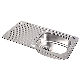 Astracast Tudor Stainless Steel Reversible 1 Bowl Kitchen Sink with Drainer