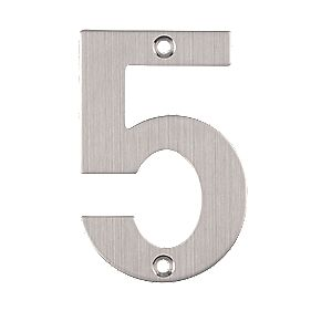 Eclipse Door Numeral No. 5 Satin Stainless Steel