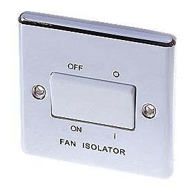 LAP 10AX 3-Pole Fan Isolator Switch Polished Chrome