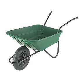 Walsall Wheelbarrows Shire Pneumatic Wheelbarrow Green 90Ltr