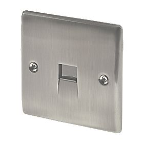British General 1-Gang Telephone Master Socket Brushed Iridium