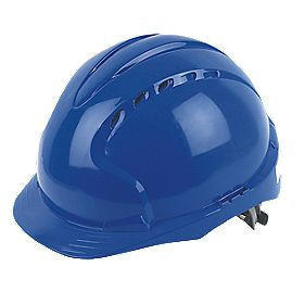 JSP EVO 2 Mid Peak Slip-Ratchet Vented Safety Helmet Blue
