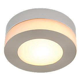 Deva Single Bathroom Ceiling Light Brushed Chrome Effect G9 40W