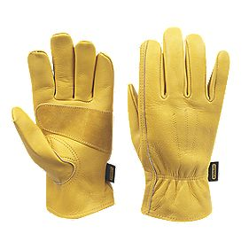 Stanley General Handling Premium Leather Driver Gloves Yellow Large