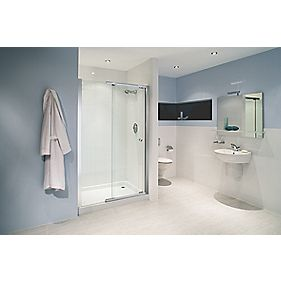 Mira Rectangular Alcove Single Sliding Door RH Silver Effect 1200mm