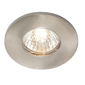Fixed Brushed Chrome 240V Mains Voltage Bathroom Downlight