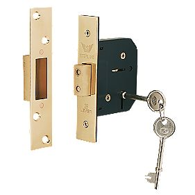 "Sterling 5-Lever Mortice Deadlock Brass 2½"" (64mm)"