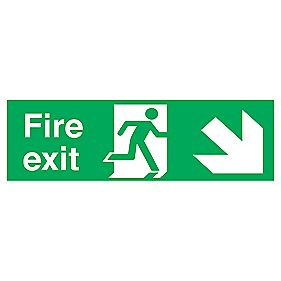 """Fire Exit"" Down Right Arrow Signs 150 x 450mm Pack of 50"