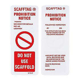 Scafftag Scafftag Prohibition Inserts 110 x 50mm Pack of 10