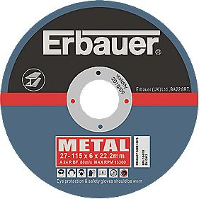 Erbauer Metal Grinding Disc 115 x 6 x 22.2mm Pack of 5