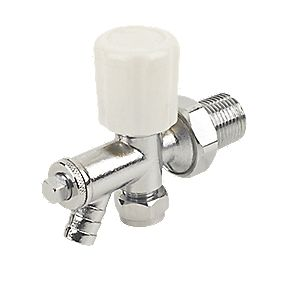 Angled Radiator Valve with Drain Off Chrome 8mm