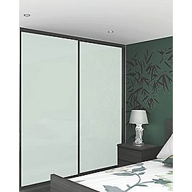 Sliding Wardrobe Doors Black Frame White Glass Panel 2-Door 1485 x 2330mm