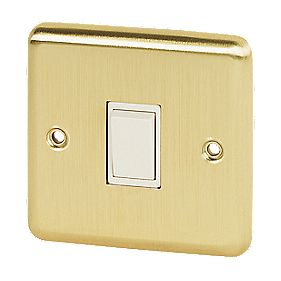 Volex 10A 1-Gang 2-Way Switch Wht Ins Brushed Brss Round Edge