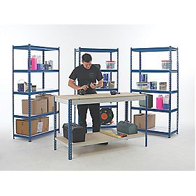 Workshop Workbench & Shelving Starter Kit Blue & White x x mm
