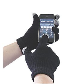 Non Safety Touch Screen Knit Gloves Black One Size Fits All