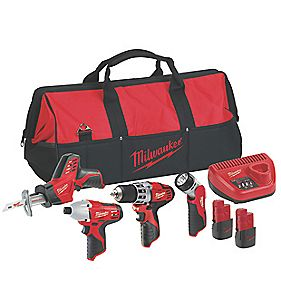 Milwaukee A M12 12V Li-Ion 5 Piece Plumbers Tool Kit