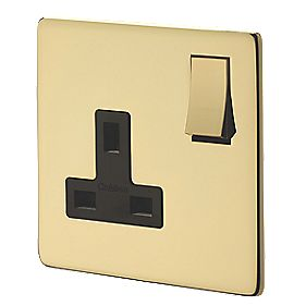 Crabtree 1-Gang DP Sw Socket Polished Brass Flat Plat