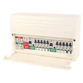 MK Sentry 10 Way Dual RCD Board with 2 RCDs & 10 MCBs